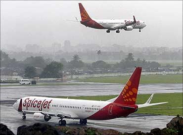 SpiceJet aircraft in Mumbai.