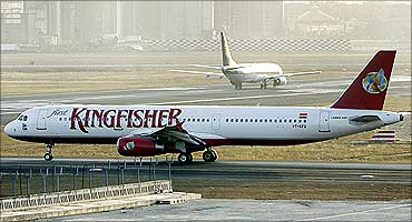 Kingfisher Airlines at Mumbai airport.