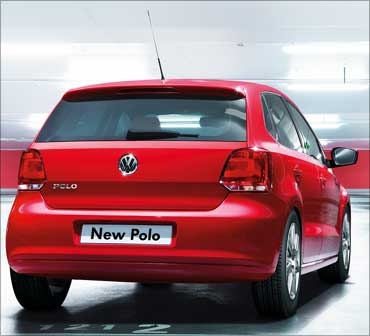 Rear view of Volkswagen Polo.