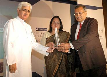 The late C K Prahalad's brother-in-law receives the award on his behalf.
