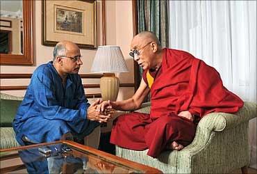 Subroto Bagchi with the Dalai Lama.