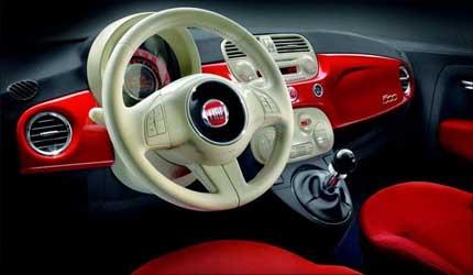 Interior of Fiat 500.