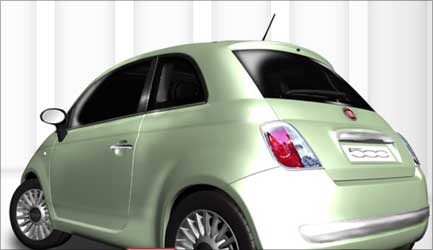 Rear view of Fiat 500.