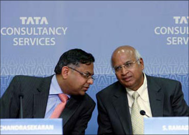 TCS chief executive officer N Chandrasekhar (left) with former TCS CEO S Ramadorai.