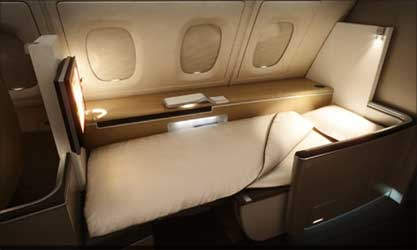 Bed in the First Class cabin.