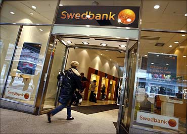 SwedBank office in downtown Stockholm.