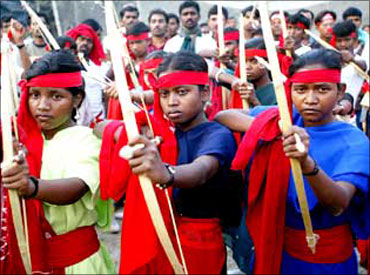 Naxalites with bow and arrows.