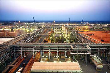A refinery in the Krishna Godavari basin off Andhra Pradesh coast.