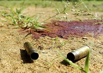 Bullet shells, a grim reminder of an encounter between security forces and Naxals.
