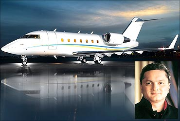 Gautam Hari Singhania (Inset) and his business jet.