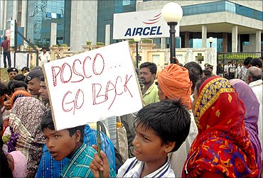 Villagers protest against Posco.