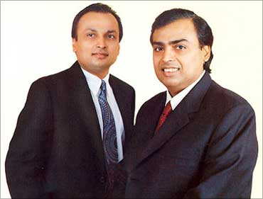 Anil and Mukesh Ambani in happier times.