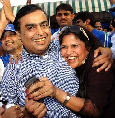 Mukesh Ambani celebrates after Mumbai Indians won against Rajasthan Royals in IPL II.