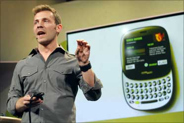 Microsoft marketing manager Derek Snyder discusses a new smart phone called Kin One at a Microsoft news conference in San Francisco, California April 12, 2010.