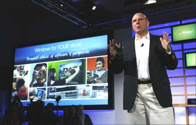 Microsoft CEO Steve Ballmer takes the stage at the Windows 7's Launch Party in New York.