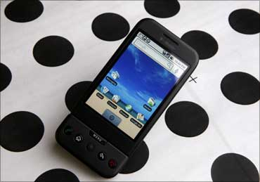 A T-Mobile G1 Google phone running Android.