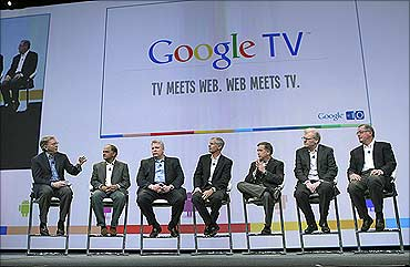 Google CEO Eric Schmidt announces partners for Google TV in San Francisco.
