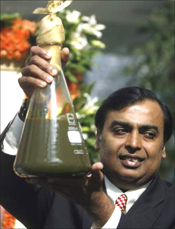 Mukesh Ambani with crude from KG Basin.