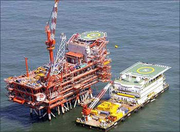 A Reliance offshore rig in the Krishna Godavari basin.