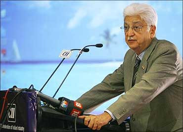 Azim Premji speaks during a business seminar.