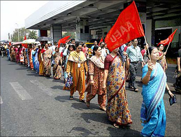File photograph of striking Air India employees.
