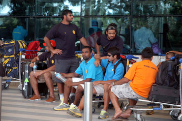The stranded members of India's rugby team at the Mumbai airport.