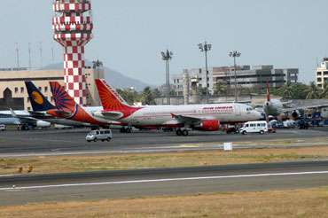 Air India aircraft at the Mumbai ariport.