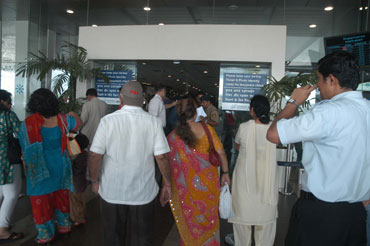 Anxious passengers at the Mumbai airport.