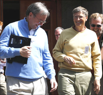 Eric Schmidt (left) CEO of Google and Bill Gates, former CEO of Microsoft in Sun Valley,