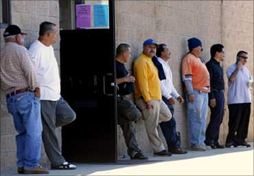 People queueing up at an employment agency.