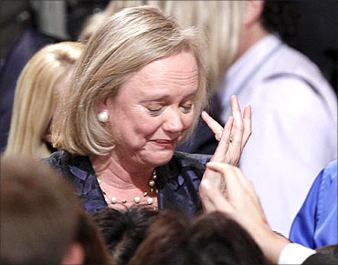 Meg Whitman cries after speaking to her supporters during her election night loss in Los Angeles, California.