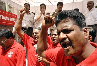 India's public sector bank employees during a strike against divestment in Hyderabad.
