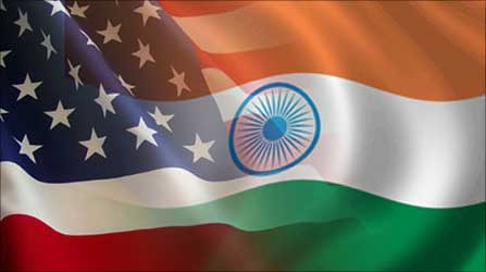 Indo-US flags.