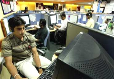 People working in a BPO.