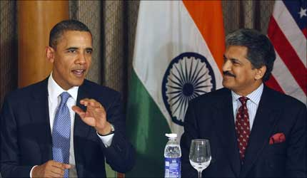 Barack Obama and Anand Mahindra.