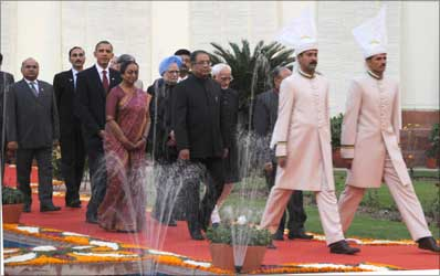 US President Barack Obama at a ceremonial procession.