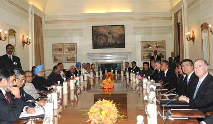 Prime Minister Manmohan Singh at the delegation level talks with the US President Barack Obama, in New Delhi on November 8, 2010.