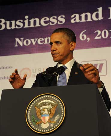 Obama addressing the US-India Business and Entrepreneurship Summit, in Mumbai on November 6, 2010.