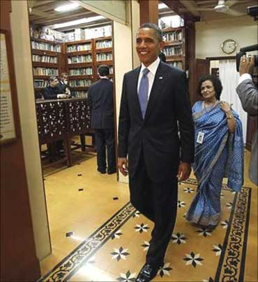 President Barack Obama at the Gandhi Museum in Mumbai on Nov 6, 2010.