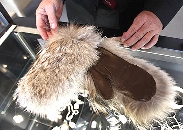 A pair of fur mittens belonging to Bernard Madoff's wife, Ruth.
