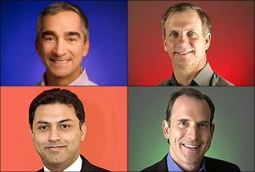 Patrick Pichette, (L), Alan Eustace (R) Top; Nikesh Arora (L), Jonathan Rosenberg (R).