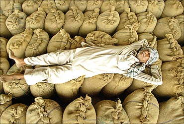 A farmer rests on the sacks of wheat at a grain market.