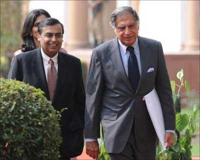 Ratan Tata with Mukesh Ambani.