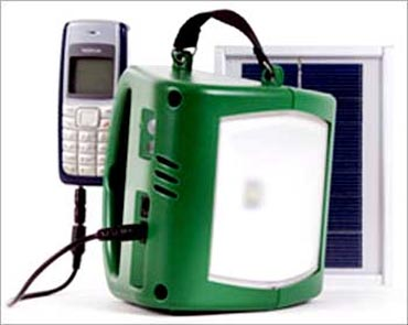 Solar lamp with mobile charger.