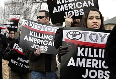 United Auto Workers (UAW) activists protest against Toyota.