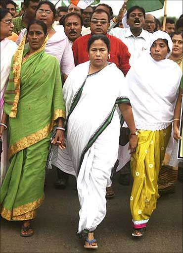 Mamata Banerjee participating in a protest march.