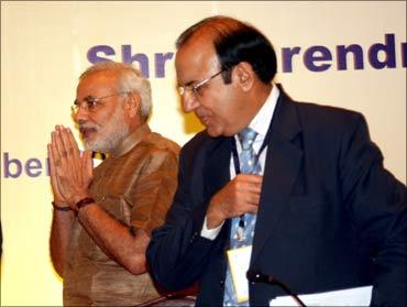 Modi with A K Joti.