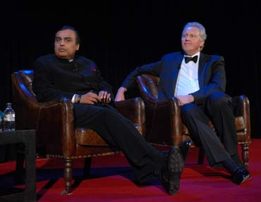 Mukesh Ambani and Jeffrey Immelt.