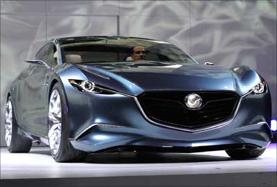 The Mazda Shinari concept car was unveiled at the LA Auto Show in Los Angeles on November 17, 2010.