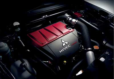 The engine of Evo X.
